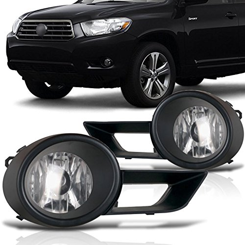 cciyu Clear Lens OE Replacement Fog Lights Assembly Front Bumper Lamps For 2008-2011 Toyota Highlander (Oe Replacement Fog Lamp)