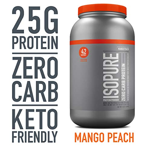 Isopure Zero Carb, Keto Friendly Protein Powder, 100% Whey Protein Isolate, Flavor: Mango Peach, 3 Pounds (Packaging May Vary)