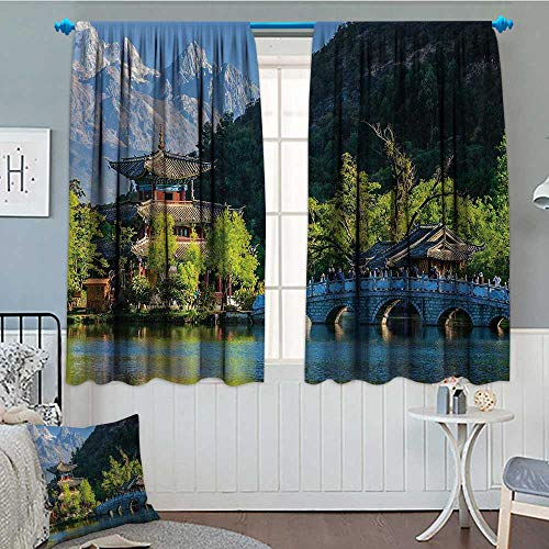 Ancient China Patterned Drape For Glass Door Old Town Scene of Lijiang Black Dragon Pool Park Jade Dragon Snow Mountain Waterproof Window Curtain 55