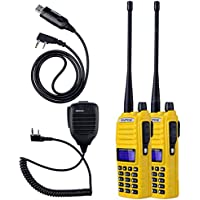 NKTECH NK-S112 Mic USB Cable and 2-Pack BaoFeng UV-82 Tri-Power 8W 4W 1W VHF UHF Dual Band PTT 136-174/400-520 Two Way Radio Walkie Talkie 7.4V Li-ion Batteries Accessories Yellow