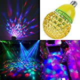 YJY Magic Multicolor RGB Auto Rotating LED Light Bulb, E27 Stage Lamp for Disco Projection Xmas Party DJ, E26 3W 110V 120V 220V - Global Shape