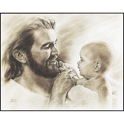 Dicksons Joyful Jesus With Precious Baby Brushed Grayscale 8 x 10 Wood Wall Sign Plaque ()
