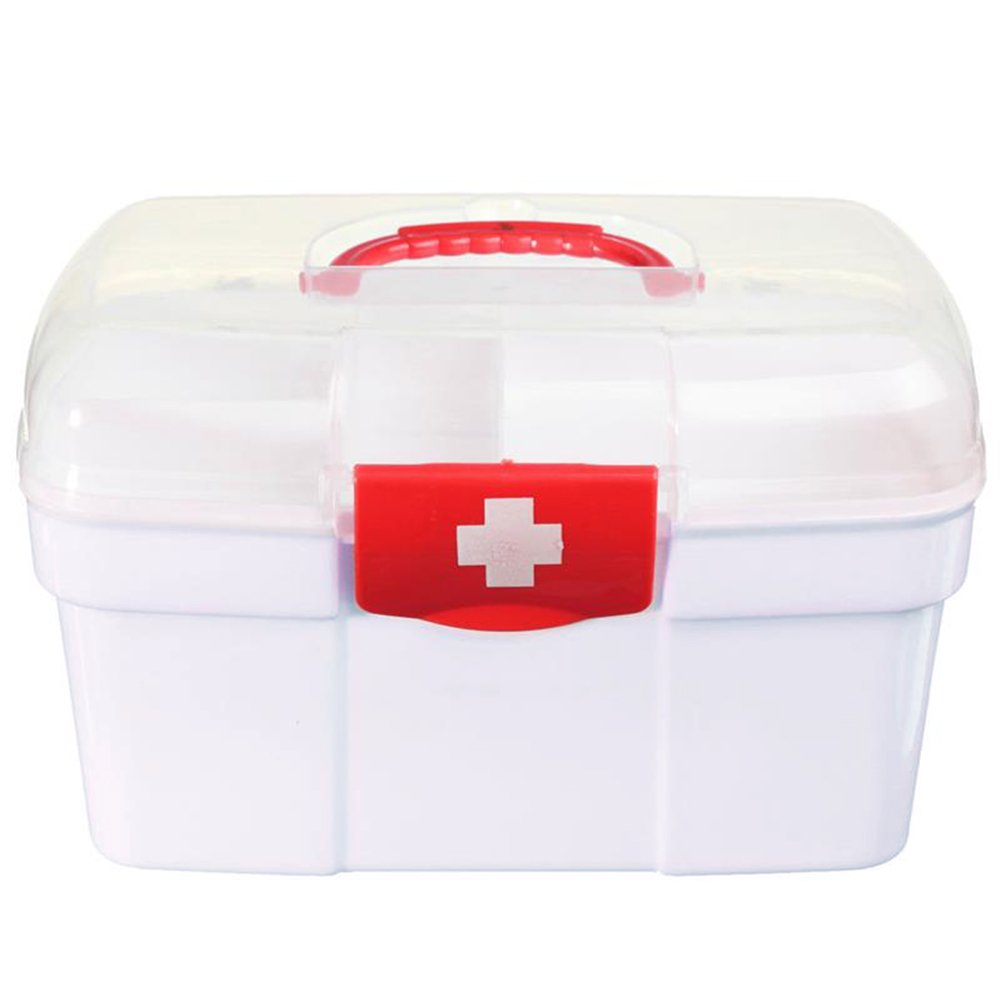 Zeroyoyo Plastic Clear Pill Medicine Chest First Aid Kit Case Storage Box