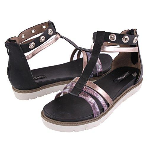 Damara Mujeres Sandalias Planos Con Cierre De Cremallera Zapatillas Zapatos Negro