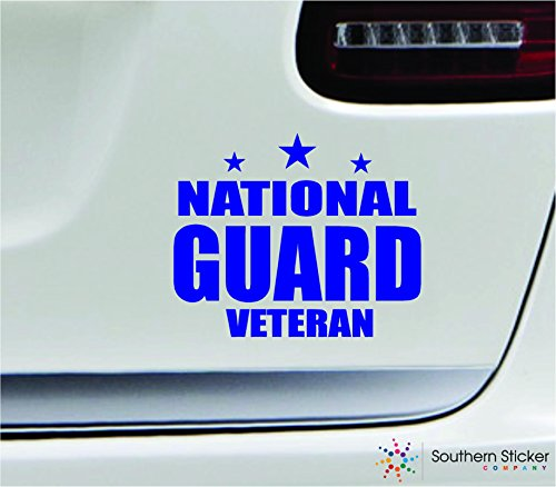 - National guard veteran 5.4x4.4 blue soldier military war veteran america united states color sticker state decal vinyl - Made and Shipped in USA