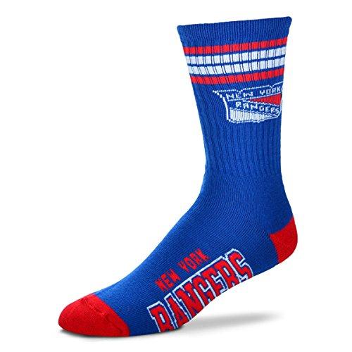(For Bare Feet NHL 4 Stripe Deuce Crew Men Socks-New York Rangers-Large (10-13))