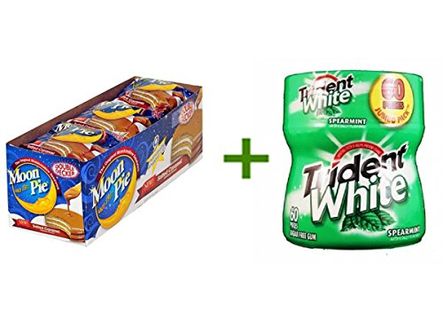 MOON PIE DOUBLE DECKER SALTED CARAMEL 9ct, (4 PACK), TRIDENT WHITE GUM SPEARMINT - Bottle 1/60pcs (Salted Caramel Moon Pie compare prices)