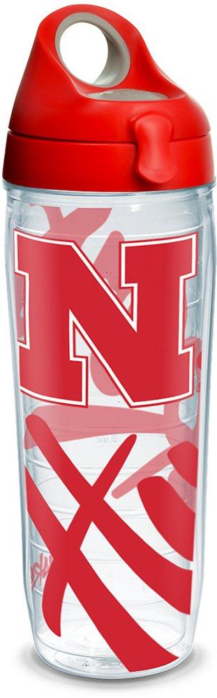 Tervis 1289475 NCAA Nebraska Cornhuskers Water Bottle With Lid 24 oz Clear