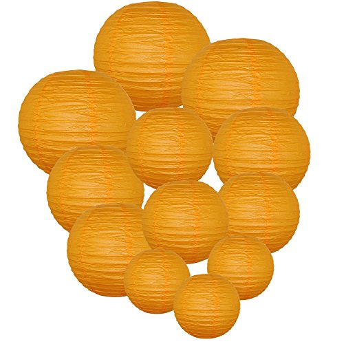 Just-Artifacts-Decorative-Round-Chinese-Paper-Lanterns-12pcs-Assorted-Sizes-Color-Orange
