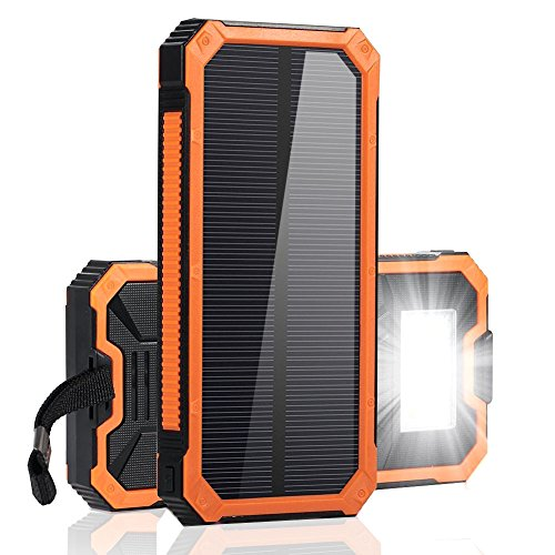 F.DORLA Solar Charger 15000mAh Power Bank, Portable Solar Phone Charger Dual USB Fast Charging External Backup Battery Pack with 6 LED Flashlight for Cell Phone iPad Tablet Camera and More by F.DORLA