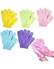 Schneespitze 5 paar peelinghandschoenen, douchehandschoenen, bodyscrubbing handschoenen, badhandschoenen, dubbelzijdig, voor kinderen, mannen en vrouwen