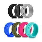 Healpy Sports Silicone Rings 7 Pack Wedding Bands for Women and Men,8.5mm Wide/Size 6 Review