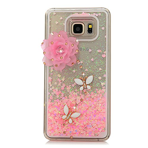 Note 5 Case,Galaxy Note 5 Case – Mavis's Diary 3D Bling Handmade Fancy Pink Love Heart Flowing Liquid with Lovely Flower White Butterfly Shiny Diamond…