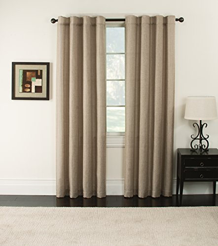 Furniture Fresh Blackout Thermal Faux Linen Pair of Panels-Two Panels-Rod Pocket and Back Tabs (each 50x84, Beige)