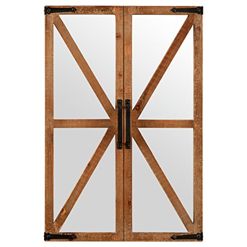 Stone Beam Rustic Wood and Iron Barn Door Hanging Wall Mirror Decor, 30 Inch Height, Natural