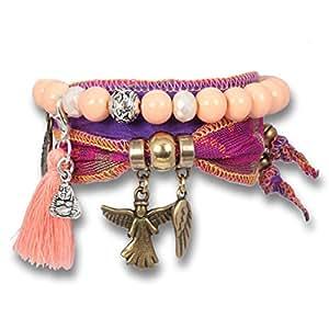 anisch de la cara Mujer Charity de pulsera set Violet Wings of hope seda sari indio, IA de Violet de Hope