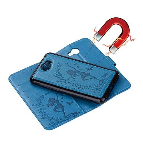 Crazy amp; Génération Card Stand Horse en Color Texture Lanyard cuir PU Y5 Huawei Slots 2 Cash pour Décochable avec Pattern Fairy en en Flip relief 2ème Housse II Blue Red 1 Housse Girl xw1qCtIZR