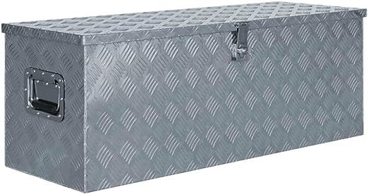 Tidyard Caja de Aluminio Herramientas Caja de Aluminio Plateado ...