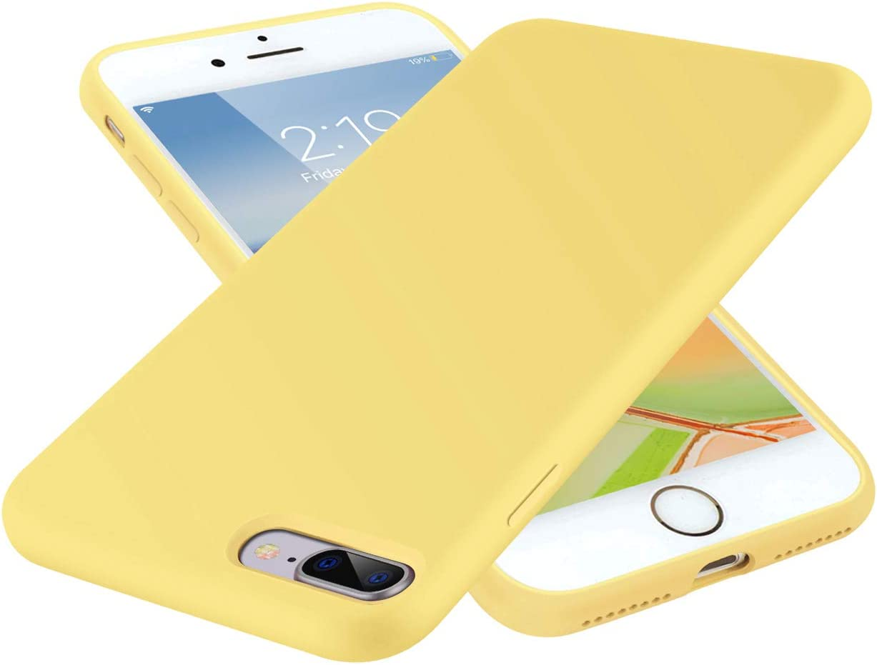 SYMOO Case for iPhone 8 Plus and iPhone 7 Plus,Liquid Silicone Case,Full Body Protection Shockproof Cover Case Drop Protection Case for Apple iPhone 8 Plus / 7 Plus 5.5 inch (Yellow)