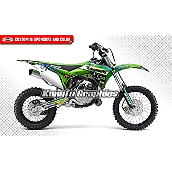 Green White Kungfu Graphics Custom Decal Kit for Kawasaki KX 85 KX 100 2014 2015 2016 2017 2018 2019