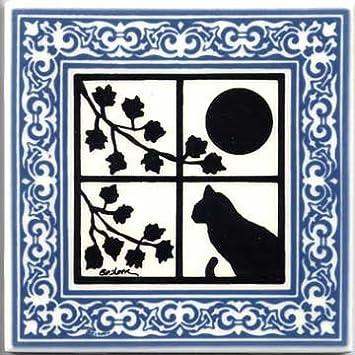 CAT TILE – CAT WALL PLAQUE – CAT TRIVETS WITH BLUE VICTORIAN BORDER
