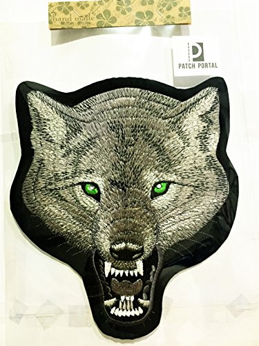 Many Wildlife Animals (Patch Portal Lone Wolf Back Patch 9 Inches Grey Animal Wildlife Head Biker Large Embroidered Sew Iron On Trendy Velvet Embroidery Chenille DIY Applique Great For Cloth Shirt Jeans Jackets Backpacks)