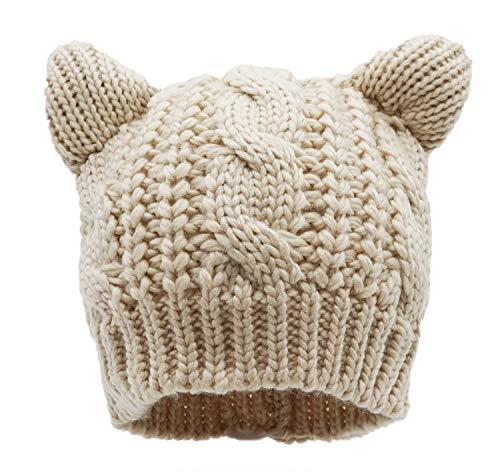 (Bellady Women's Hat Cat Ear Crochet Braided Knit)