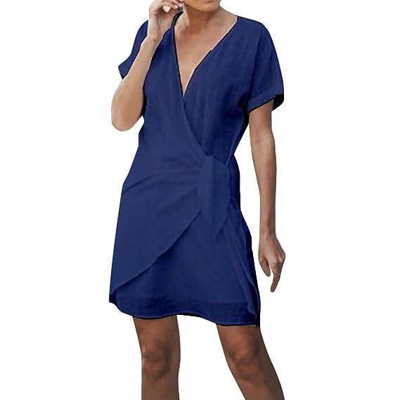 Mosstars Vestidos Mujer Casual Verano Vestido Escotado en Forma V Cuello en V Mujer Cuello sólido