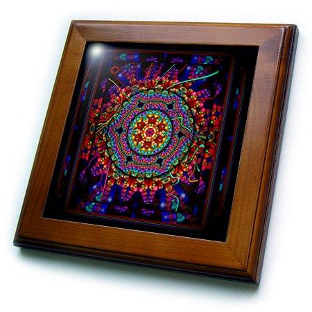 8 by 8-Inch 3dRose ft/_24832/_1 Mandala 4 Mandala India Buddhism Hinduism Psychedellic New Age Harmony Balance Meditation-Framed Tile