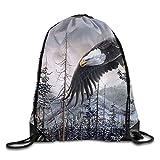 Bald Eagle Art Beam Drawstring Travelling Bundle Pocket Canvas Storage Gym Bag Ball Backpack