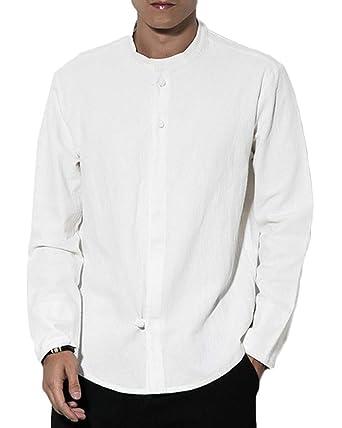 ff1eea94718b Homme Mélange de Lin Manche Longue Chemises Veste Rétro Chinois Style  Manteau Blanc S