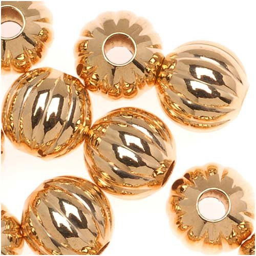 Genuine 22K Gold Plated Fluted Corrugated Round Metal Beads 8mm (Corrugated Round Metal Beads)