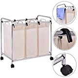 Laundry Cart Basket Triple Bag Sorter Bathroom Hamper Bins Clothes Storage New