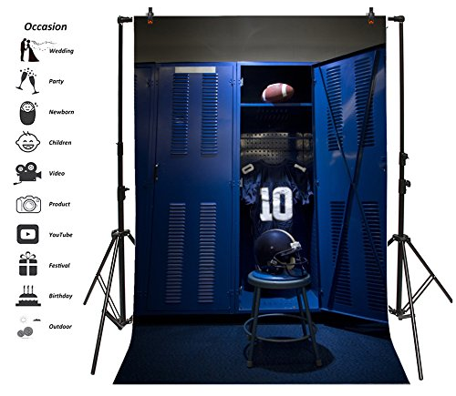 Leyiyi 6x8ft Photography Background Vintage Locker Backdrop Soccer Ball Game Football Training No. 10 Suit Sportswear Dressing Room Gym Helmet Fierce Sport Dark Photo Portrait Vinyl Studio Video -