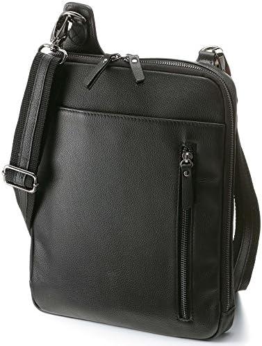 ホースレザー 馬革 スリム ショルダーバッグ 2WAY 薄型かばん メンズ (ブラック)
