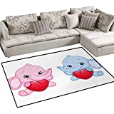 Elephant Nursery,Floor Mat,Pink and Blue Kid Infant Elephants Holding Hearts Smiling Twins,Small Rug Carpet,Pale Pink Blue White,48''x60''