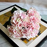 Zhi Jin 5 Heads Large Silk Mallorca Artificial Hydrangea Bouquet Flowers Lifelike Fake Leaf Wedding Home Decor Pack of 2 Pink