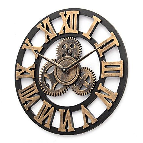 40/60/80Cm Retro Wall Clock European 3D Decorative Large Gear Wooden Wall Clock Home Decoration Gift 40cm -