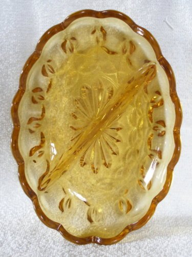 (Vintage Anchor Hocking Fairfield Amber Glass Divided Relish Nut Candy Dish With Scalloped Edges)