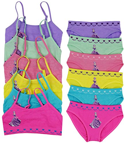 Bra Boyshorts Panty (ToBeInStyle Girls 6 Pack Bras & Boyshorts Set Purple Princess - L)