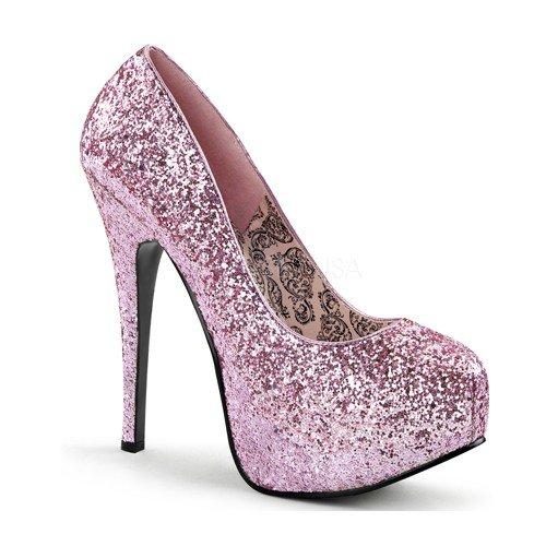 Women's 5 3/4 Inch Glitter Concealed Platform Pump (Baby Pink - High 5 Heel Stiletto Inch 3/4