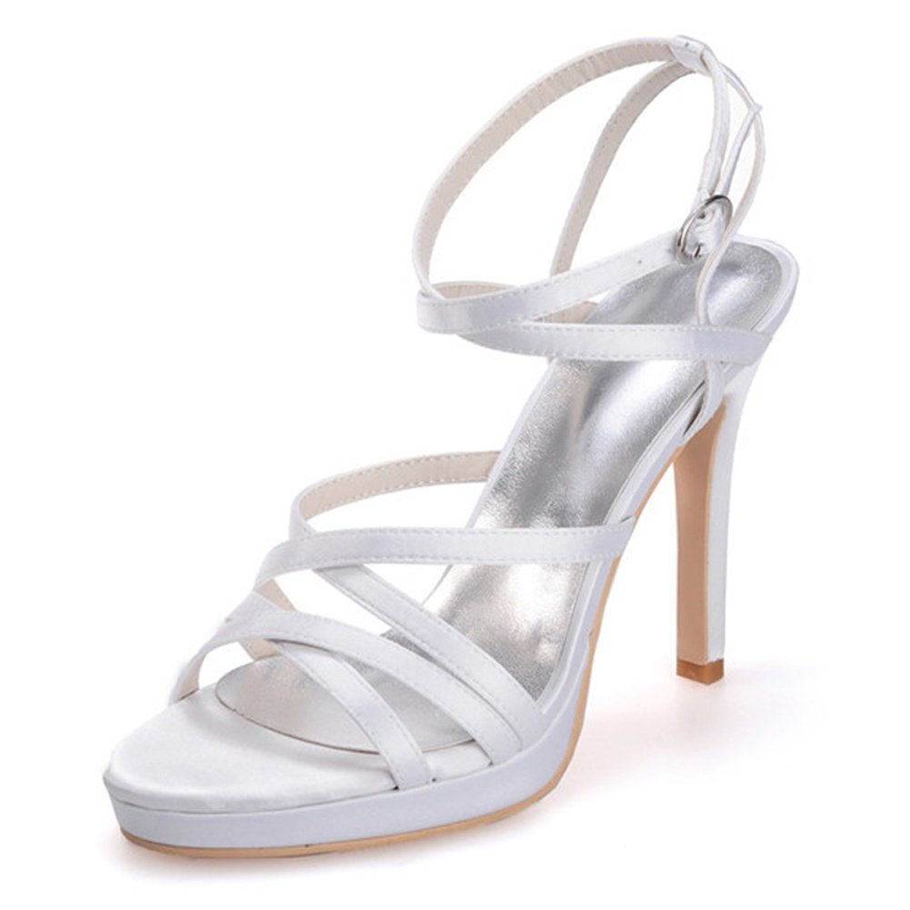 Blanc Elobaby Chaussures De Mariage pour Femmes sur La Boucle De Bal pour Printemps en Soie Peep Toe Chunky Party & SoiréE LC-5915-03 36 EU