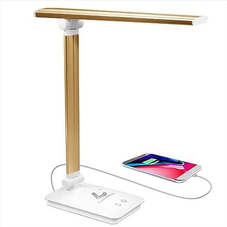 Lámpara Escritorio LED Lámpara de Mesa USB regulable Recargable Cuidado Para los Ojos, 5 colores x 3 dimmer, Control táctil, bajo consumo de energía