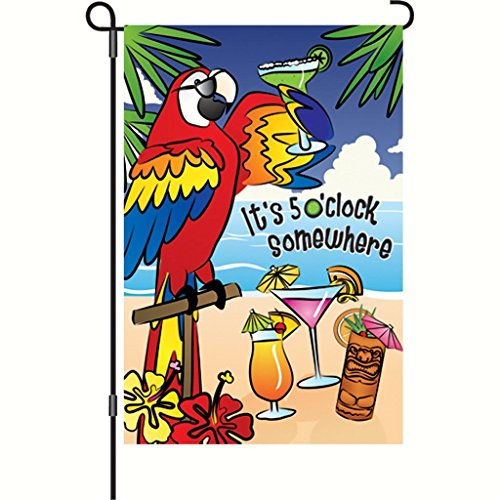 Brownrio Premier Designs 5 O'Clock Somewhere Garden Flag (5 Oclock Somewhere Garden)