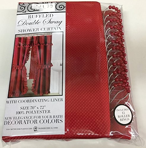 Better Home Double Swag Fabric Shower Curtain with Vinyl Liner and 12 Roller Shower Rings (Cherry Red)