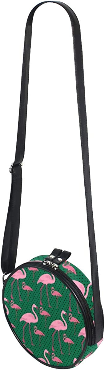 KEAKIA Flamingo And Dots Round Crossbody Bag Shoulder Sling Bag Handbag Purse Satchel Shoulder Bag for Kids Women