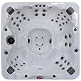 American Spas AM-756BS 6-Person 56-Jet Bench Spa with Bluetooth Stereo System, LED Streamer Waterfall, Ozone Sanitization