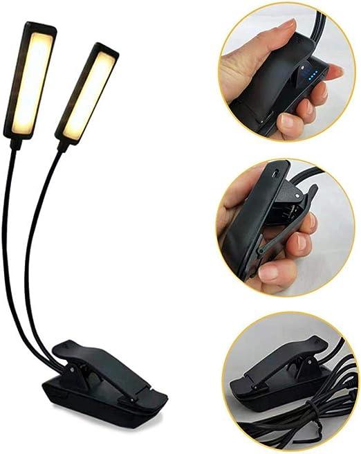 Hualieli Doble Polo 9 LED Clip Lámpara De Escritorio Mini Lámpara ...