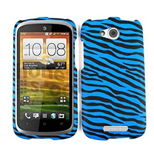 Snap-On Case for HTC One VX - Blue Zebra on Black