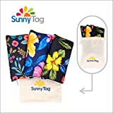 Sunny Tag Foldable Reusable Eco friendly Wallet Style Grocery Shopping Travel Bag Tote Pack of 3 Hawaii Flowers Water repellent, Washable, Hold up to 33 LBS or 15 KG